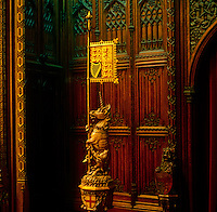 A carved unicorn holding a gilt flag is just one among many such whimsical gothic animals located around the Chamber in the House of Lords