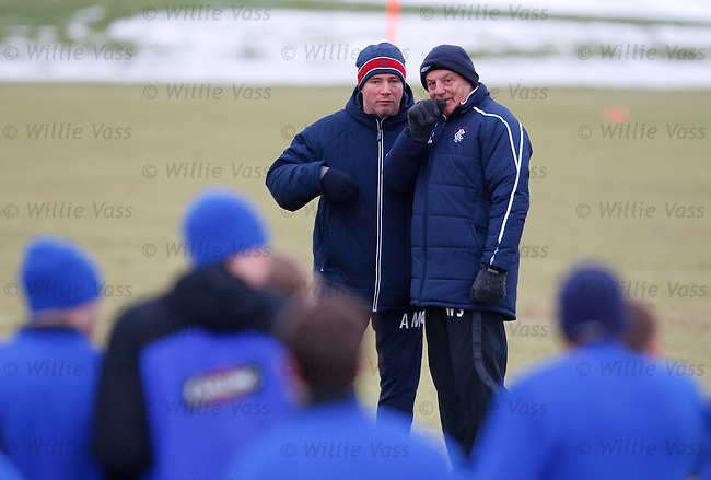 Ally McCoist and Walter Smith at training