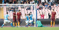 Calcio, Serie A: Napoli vs Roma. Napoli, stadio San Paolo, 15 ottobre. <br /> Napoli&rsquo;s Kalidou Koulibaly, third from right, celebrates after scoring during the Italian Serie A football match between Napoli and Roma at Naples' San Paolo stadium, 15 October 2016. Roma won 3-1.<br /> UPDATE IMAGES PRESS/Isabella Bonotto