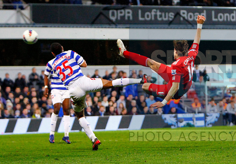 Sebastian Coates of Liverpool scores his side's first goal .Barclays Premier League.Queens Park Rangers v Liverpool at Loftus Road, London.21st March, 2012.--------------------.Sportimage +44 7980659747.picturedesk@sportimage.co.uk.http://www.sportimage.co.uk/.Editorial use only. Maximum 45 images during a match. No video emulation or promotion as 'live'. No use in games, competitions, merchandise, betting or single club/player services. No use with unofficial audio, video, data, fixtures or club/league logos.