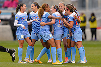 Bridgeview, IL, USA - Sunday, May 1, 2016: Chicago Red Stars players celebrate a Christen Press goal during a regular season National Women's Soccer League match between the Chicago Red Stars and the Orlando Pride at Toyota Park. Chicago won 1-0.