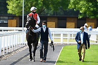 Winner of The AJN Steelstock / Pam Bruford Memorial Handicap   Konchek ridden by Hector Crouch and trained by Clive Cox is led into the Winners enclosure during Horse Racing at Salisbury Racecourse on 9th August 2020