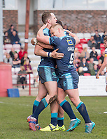 Picture by Allan McKenzie/SWpix.com - 25/03/2018 - Rugby League - Betfred Championship - Batley Bulldogs v Featherstone Rovers - Heritage Road, Batley, England - Featherstone's James Lockwood is congratulated by Keal Carlile on scoring a try against Batley.