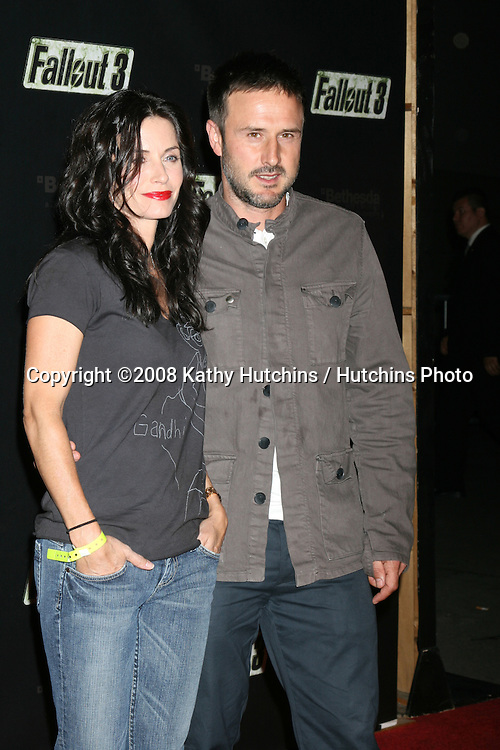 "Courteney Cox  & David Arquette arriving at the Launch of ""Fallout 3"" Videogame at the LA Center Studios  in Los Angeles, CA.October 16, 2008.©2008 Kathy Hutchins / Hutchins Photo...                ."