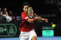 Yasutaka Uchiyama (JAP), MARCH 05, 2016 - Tennis : Yasutaka Uchiyama (JAP) in action during the Davis Cup by PNB Paribas , World Group first round between Great Britain and Japan at The Barclaycard Arena, Birmingham, United Kingdom. (Photo by Rob Munro/AFLO)