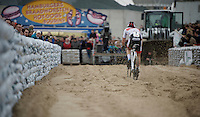David Van der Poel (NLD/BKCP-Corendon) flying over the sand<br /> <br /> Jaarmarktcross Niel 2015  Elite Men &amp; U23 race