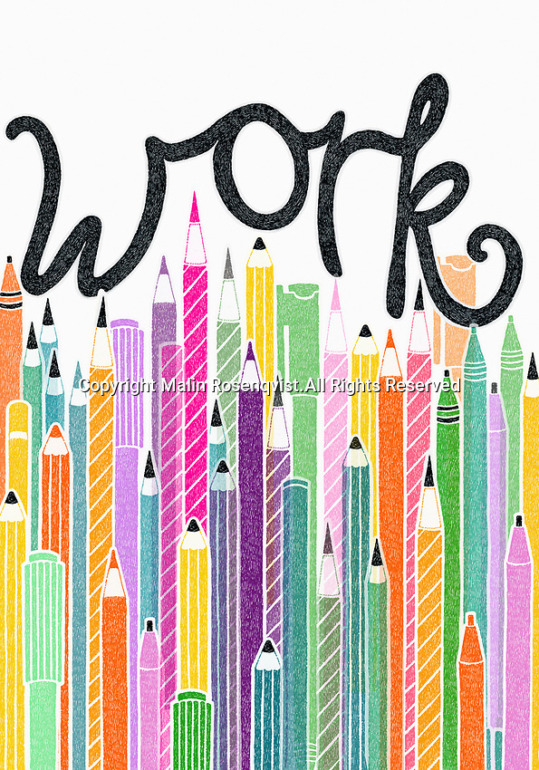 Pens and pencils and the single word work