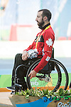 RIO DE JANEIRO - 11/9/2016:  Brent Lakatos receives his silver medal for the Men's 400m - T53 Final at the Olympic Stadium during the Rio 2016 Paralympic Games in Rio de Janeiro, Brazil. (Photo by Matthew Murnaghan/Canadian Paralympic Committee