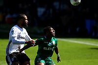 18th July 2020; Craven Cottage, London, England; English Championship Football, Fulham versus Sheffield Wednesday; Kadeem Harris of Sheffield Wednesday competes for the ball with Michael Hector of Fulham