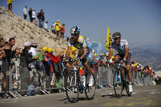 Andreas Klöden (GER) Astana and Christophe Riblon (FRA) AG2R La Mondiale close to the finish of Mont Ventoux during Stage19 of the Tour de France 2009 running 167km from Montelimar to Mont Ventoux, France. 25th July 2009 (Photo by Eoin Clarke/NEWSFILE)