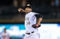 Charlotte Knights relief pitcher Michael Ynoa (38) in action against the Syracuse Chiefs at BB&T BallPark on June 1, 2016 in Charlotte, North Carolina.  The Knights defeated the Chiefs 5-3.  (Brian Westerholt/Four Seam Images)