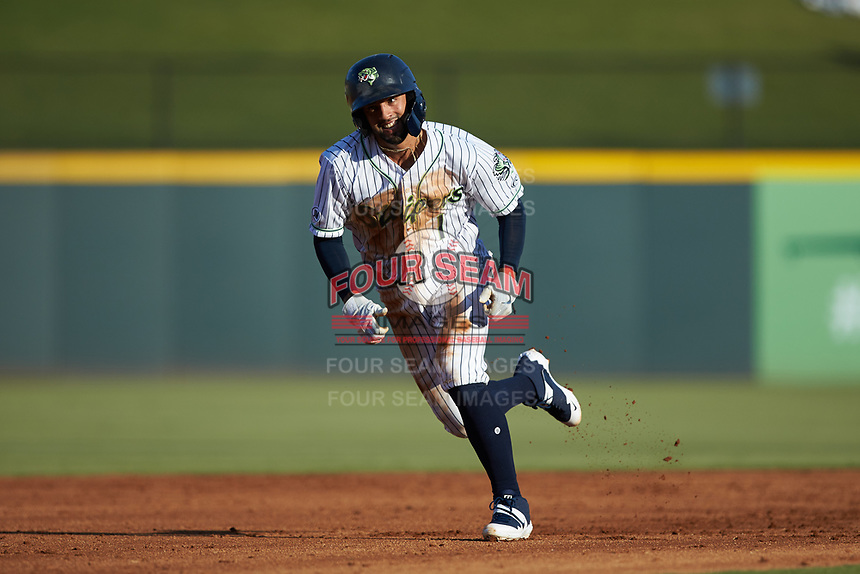 Jack Lopez (1) of the Gwinnett Stripers takes off for third base against the Scranton/Wilkes-Barre RailRiders at BB&T BallPark on August 17, 2019 in Lawrenceville, Georgia. The Stripers defeated the RailRiders 8-7 in eleven innings. (Brian Westerholt/Four Seam Images)