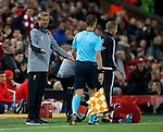 Jurgen Klopp manager of Liverpool complains to the lineman following a tackle on Roberto Firmino of Liverpool during the Champions League Group E match at the Anfield Stadium, Liverpool. Picture date 13th September 2017. Picture credit should read: Simon Bellis/Sportimage