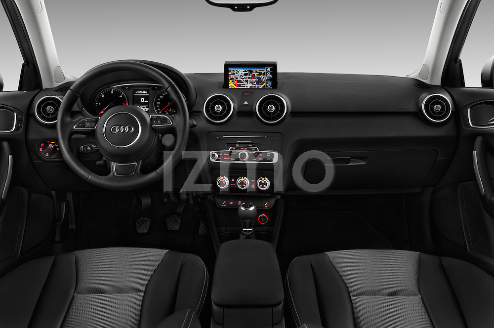 Stock photo of straight dashboard view of 2016 Audi A1 Sport 3 Door Hatchback Dashboard