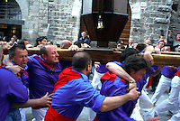 Gubbio 15 MAY 2006..Festival of the Ceri..The Cero of St George   in Via dei Consoli....http://www.ceri.it/ceri_eng/index.htm..
