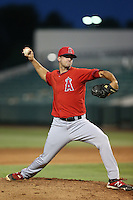 Brandon Glazer (52) of the AZL Angels pitches during a game against the AZL Giants at Tempe Diablo Stadium on July 6, 2015 in Tempe, Arizona. Angels defeated the Giants, 3-1. (Larry Goren/Four Seam Images)