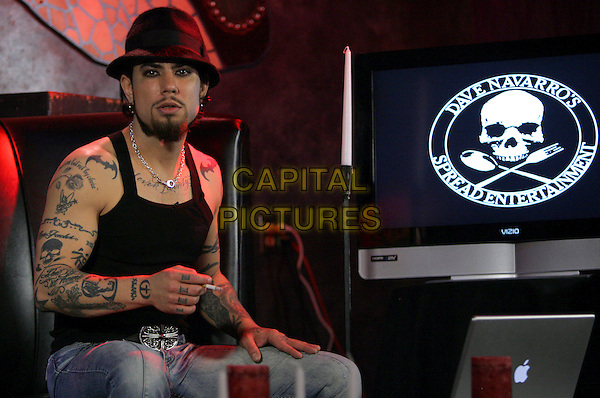 DAVE NAVARRO .The Launch of Dave Navarro's Spread Entertainment on Mania TV, A weekly internet TV Show live from The Dragonfly  in Hollywood, California, USA. .May 17th, 2007.half length hat fedora black tattoos sitting studio cigarette  .CAP/DVS.©Debbie VanStory/Capital Pictures
