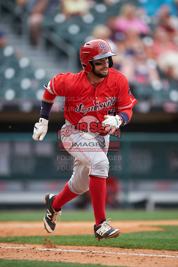 Louisville Bats catcher Raffy Lopez (9) runs to first base during a game against the Buffalo Bisons on June 23, 2016 at Coca-Cola Field in Buffalo, New York.  Buffalo defeated Louisville 9-6.  (Mike Janes/Four Seam Images)