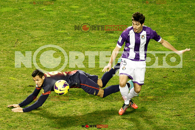 Real Valladolid's Henrique Sereno (r) and FC Barcelona's Alexis Sanchez during La Liga match.December 22,2012. (ALTERPHOTOS/Acero) /NortePhoto