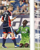 New England Revolution defender Flo Lechner (2) and Seattle Sounders FC forward Eddie Johnson (7) discuss previous play. In a Major League Soccer (MLS) match, the New England Revolution tied the Seattle Sounders FC, 2-2, at Gillette Stadium on June 30, 2012.