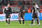 03.11.2018, BayArena, Leverkusen, GER, 1. FBL,  Bayer 04 Leverkusen vs. TSV 1899 Hoffenheim,<br />  <br /> DFL regulations prohibit any use of photographs as image sequences and/or quasi-video<br /> <br /> im Bild / picture shows: <br /> die Leverkusener sind fertig nach dem Verlust.. Kai Havertz (Leverkusen #29),  Kevin Volland (Leverkusen #31), Julian Baumgartlinger (Leverkusen #15), wird von Kevin Akpoguma (Hoffenheim #25),   getroestet<br /> Foto &copy; nordphoto / Meuter
