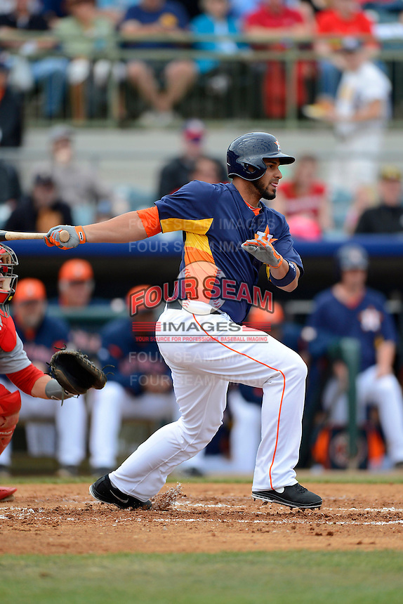 Houston Astros outfielder Fernando Martinez #21 during a Spring Training game against the St. Louis Cardinals at Osceola County Stadium on March 1, 2013 in Kissimmee, Florida.  The game ended in a tie at 8-8.  (Mike Janes/Four Seam Images)