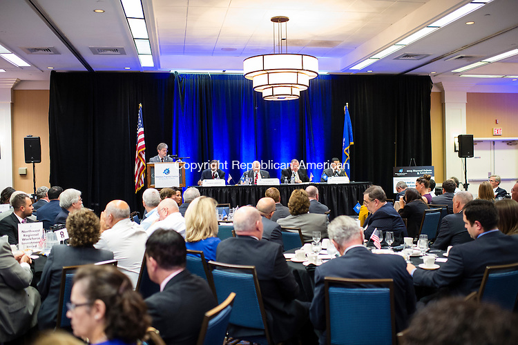WATERBURY, CT- 14 October 2015-101415EC03-  Waterbury mayoral candidates answer questions during Wednesday's Greater Waterbury Chamber of Commerce mayoral debate. From L to R: Jimmie Griffin, Lawrence De Pillo, Neil O'Leary and Jose Morales. Erin Covey Republican-American