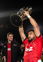 Crusaders Scott Barrett and Richie Mo'unga celebrate following the 2018 Super Rugby final between the Crusaders and Lions at AMI Stadium in Christchurch, New Zealand on Sunday, 29 July 2018. Photo: Joe Johnson / lintottphoto.co.nz