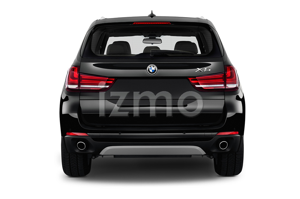Straight rear view of a 2017 BMW X5 xDrive35d 5 Door SUV stock images
