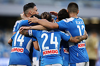 Jose Callejon of Napoli, Dries Mertens and Lorenzo Insigne of Napoli celebrate after a goal during the Serie A football match between SSC  Napoli and SPAL at stadio San Paolo in Naples ( Italy ), June 28th, 2020. Play resumes behind closed doors following the outbreak of the coronavirus disease. <br /> Photo Cesare Purini / Insidefoto