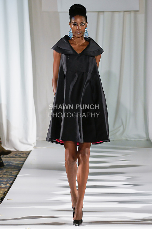 Gate walks runway in a midnight silk faced wool pyramid drees, from the b Michael AMERICA Couture Spring 2013 collection during Mercedes-Benz Fashion Week Spring 2013, at the Jumeirah Essex House on September 12, 2012.