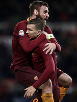 Calcio, Serie A: Roma vs Cagliari, Roma, stadio Olimpico, 22 gennaio 2017.<br /> Roma's Edin Dzeko, right, celebrates with teammate Daniele De Rossi after scoring during the Italian Serie A football match between Roma and Cagliari at Rome's Olympic stadium, 22 January 2017. <br /> UPDATE IMAGES PRESS/Isabella Bonotto