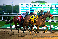 ELMONT, NY -MAY 12: Blended Citizen,#4, ridden by jockey Kyle Frey, wins the Peter Pan Stakes on  at Belmont Park on May 12, 2018 in Elmont, New York. (Photo by DanHeary/Eclipse Sportswire/Getty Images)