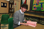 Leaving Cert Students Conor Young at St. Josephs Secondary School...(Photo credit should read Jenny Matthews www.newsfile.ie)....This Picture has been sent you under the conditions enclosed by:.Newsfile Ltd..The Studio,.Millmount Abbey,.Drogheda,.Co Meath..Ireland..Tel: +353(0)41-9871240.Fax: +353(0)41-9871260.GSM: +353(0)86-2500958.email: pictures@newsfile.ie.www.newsfile.ie.