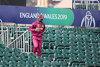 Kemar Roach retrieves the ball from the stands during West Indies vs New Zealand, ICC World Cup Warm-Up Match Cricket at the Bristol County Ground on 28th May 2019