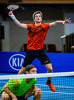 Alphen aan den Rijn, Netherlands, December 15, 2018, Tennispark Nieuwe Sloot, Ned. Loterij NK Tennis,  Semifinal men's doubles: Sander Arends (R) and Matwe Middelkoop (NED):<br /> <br /> Photo: Tennisimages/Henk Koster