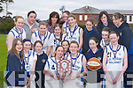PLAQUE: Killarney Presentation First Year Girls who won the South West Region Basketball A League Finals in Killarney on Friday. Front row l-r: Julie Cronin, Megan Kiely, Clare Tagney, Megan Buckley, Katie OConnor, Laura Moloney, Lauren OSullivan and Roisin Lucey. Back row l-r: Ellen Buckley, Killian Bohane (Coach), Emma Cronin, Mary Foran (Manager), Ellen Roche, Rhiannon Cremins, Rheanne OShea, Fiona Lucey, Kate Looney, Michelle Breen (Coach) and Shannon Doherty..