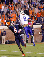 Duke cornerback Ross Cockrell (6) Virginia wide receiver Darius Jennings (6) Duke defeated Virginia 35-22 at Scott Stadium in Charlottesville, VA. . Photo/Andrew Shurtleff
