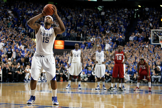 Freshman forward DeMarcus Cousins shots a free throw after a technical foul was called on Louisville in the first half of UK's 71-62 win Louisville at Rupp Arena on Saturday, Jan. 2, 2010. Photo by Britney McIntosh | Staff