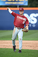 Duke Kinamon #12 of the Stanford Cardinal in the field against the Cal State Fullerton Titans at Goodwin Field on February 19, 2017 in Fullerton, California. Stanford defeated Cal State Fullerton, 8-7. (Larry Goren/Four Seam Images)