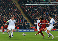 5th November 2019; Anfield, Liverpool, Merseyside, England; UEFA Champions League Football, Liverpool versus Genk; Mohammed Salah of Liverpool shoots at goal from inside the Genk penalty area