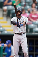 Colorado Springs Sky Sox center fielder Lewis Brinson (28) at bat during against the Oklahoma City Dodgers on June 2, 2017 at Chickasaw Bricktown Ballpark in Oklahoma City, Oklahoma.  Colorado Springs defeated Oklahoma City 1-0 in ten innings.  (Mike Janes/Four Seam Images)