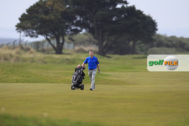 Greg Allen (RTE) on the 2nd during the Flogas Irish Amateur Open Championship Am-Am at Royal Dublin on Monday 9th May 2016.<br /> Picture:  Thos Caffrey / www.golffile.ie