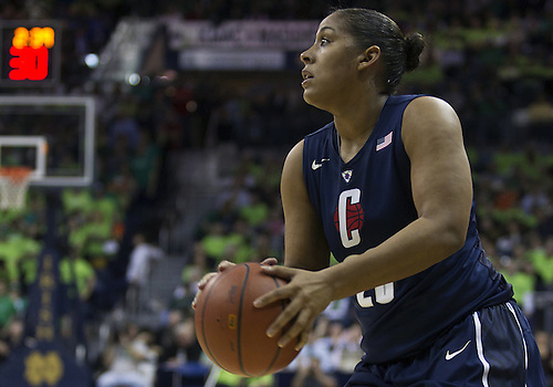 March 04, 2013:  Connecticut forward Kaleena Mosqueda-Lewis (23) sets to shoot the ball during NCAA Basketball game action between the Notre Dame Fighting Irish and the Connecticut Huskies at Purcell Pavilion at the Joyce Center in South Bend, Indiana.  Notre Dame defeated Connecticut 96-87 in triple overtime.