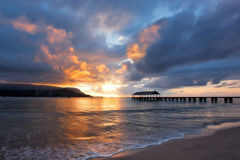 Hanalei Bay Pier at Suinset. Kauai, Hawaii.