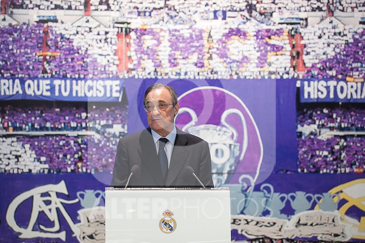 Real Madrid's President Florentino Perez during Rafael Benitez´s official presentation at the Santiago Bernabeu stadium in Madrid, Spain. June 03, 2015. (ALTERPHOTOS/Victor Blanco)