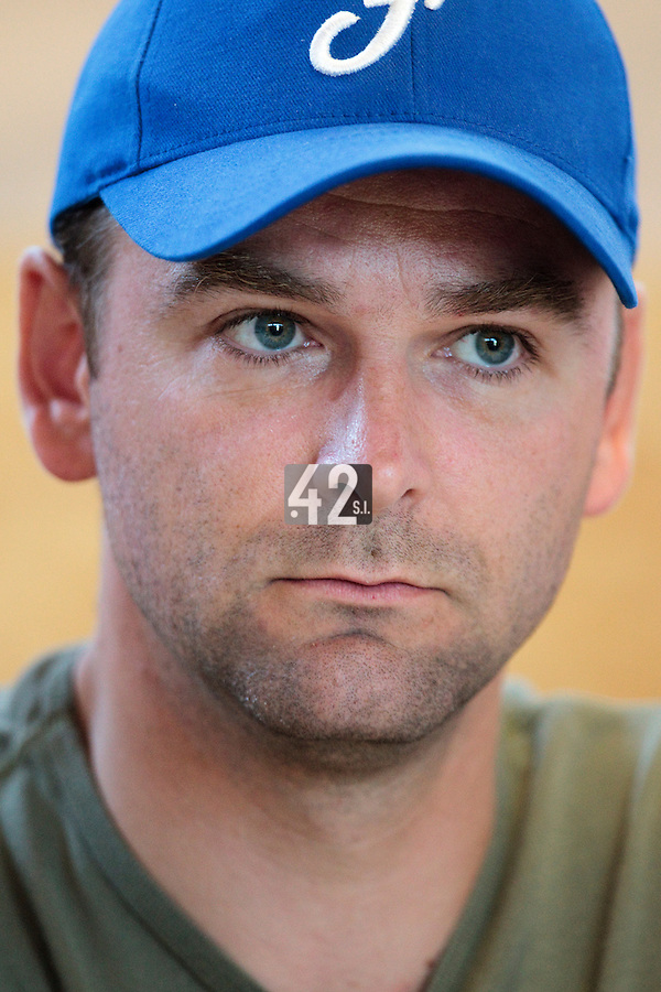 20 july 2010: Jean-Christophe Tine of the French Federation of Baseball and Softball is seen during a press conference prior to the 2010 European Championship Seniors, in Neuenburg, Germany.