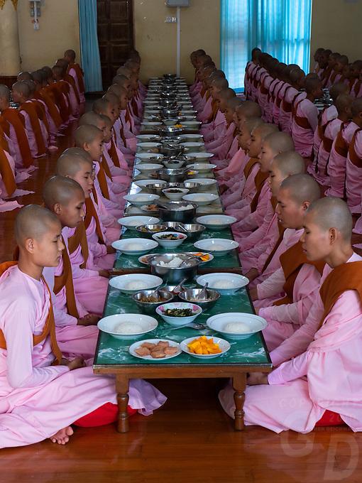 Hundreds of Buddhist Nuns study at the Tha Kya Thida nunnery in Sagaing, Mandalay, Myanmar