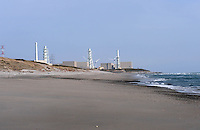 The Chubu Electric Co owned Hamaoka nuclear power station in Shizuoka Prefecture, 140 miles south of Tokyo is protected by a low sand dune from Tsunami..25 Mar 2011..