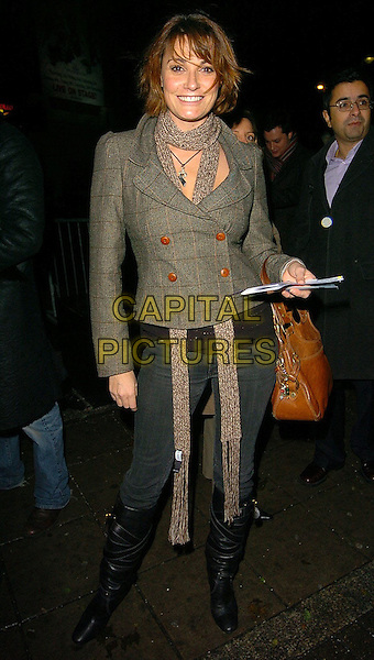 "SARAH PARISH.The League of Gentlemen ""Are Behind You"" Live Tour opening night held at Carling Apollo Hammersmith, London..UK, United Kingdom..1st Decmber 2005.Ref: CAN.full length grey tweed cropped jacket double brested skinny scarf blu denim jeans Chloe style knee high boots .www.capitalpictures.com.sales@capitalpictures.com.©Capital Pictures"